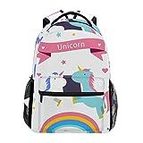 TIZORAX Mochila Escolar, diseño de Unicornio arcoíris