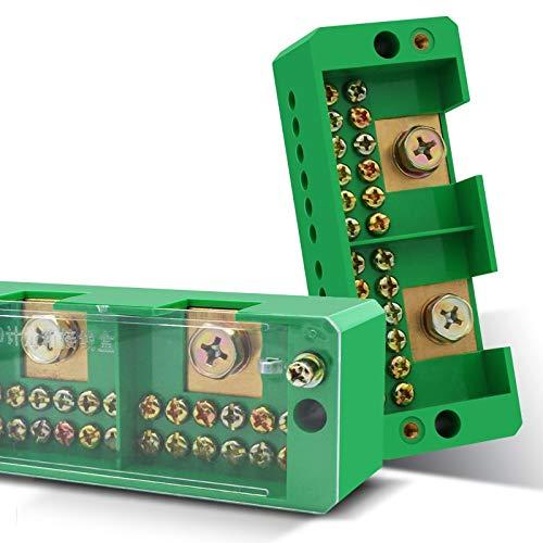 WEIXIAO WLKH 1pcs de distribución Caja de conexión 2-en-12 Fuera Part Línea Verde Caja de terminales de Tres Fases Bloque de líneas de medición Junction