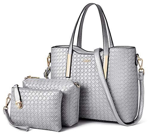 Tibes Fashion Pu Leather Handbag+Shoulder Bag+Purse 3pcs Bag Satchel Silver