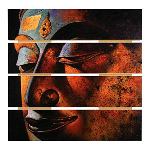 Bilderwelten Holzbild - Bombay Buddha Wohnzimmer Deko Quadrat 48cm x 48cm