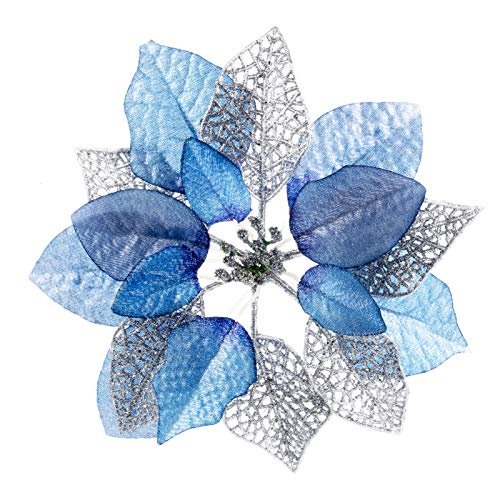 10 Pack Blue Glitter Poinsettia Bushes Christmas Tree Ornaments,Christmas House Poinsettia Ornament,Light Blue Poinsettia Flowers Christmas Decorations