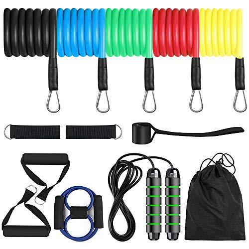 TOMSHOO Bandas de Resistencia Set de Fitness Cinturón de Resistencia de Cuerda de Entrenamiento de Yoga de Fuerza Muscular Multifuncional para Viajes de Gimnasio en Casa (13Pcs)