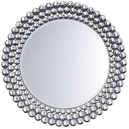Beliani Specchio da Parete in Argento ø70 cm STENAY