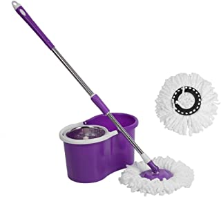 360°Easy Floor Mop Microfiber Spining Magic Spin Mop Bucket 2 Heads Rotating AU Delivery (Purple)