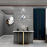 FLEBLE Metal 18inch Drop Wall Clock 3D Non-Ticking Silent Quartz Clocks,White Glass Dial with Arabic Numerals,Diamond Round Home Decoration…