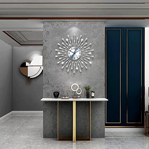 FLEBLE Metal 18inch Drop Wall Clock 3D Non-Ticking Silent Quartz Clocks,White Glass Dial with Arabic...
