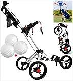 JFZCBXD Chariot de Golf, 3 Roues Manuel Push/Pull Golf Cart avec Support Parapluie, Tableau de Bord et Porte-Boisson, Golf en Aluminium Pliable Panier Fitness Equipment