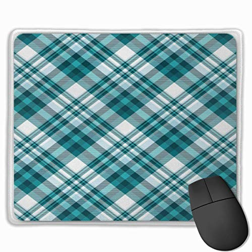 Muismat, schrijftafelmuismat, motief Schotse ruiten, Checkered Like Layout Classic Striped SquaresPetrol blauw en lichtblauw
