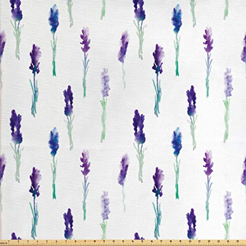 Lunarable Lavender Fabric by The Yard, Abstract Watercolor Art Style Flowers on Stems Springtime Nature, Decorative Fabric for Upholstery and Home Accents, 2 Yards, Turquoise Navy