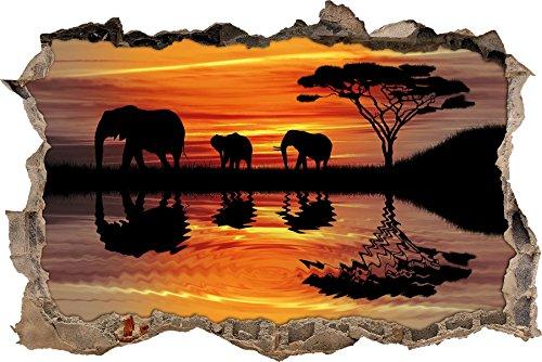 Pixxprint 3D_WD_5301_92x62 Afrika Elefant in Sonnenschein Wanddurchbruch 3D Wandtattoo, Vinyl, schwarz / weiß, 92 x 62 x 0,02 cm
