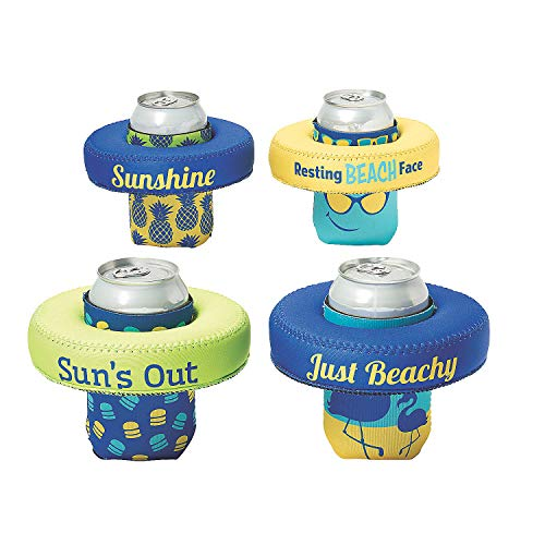 Affordable Fun Express – Sassy Sayings Floating Neoprene Can Cove – Party Supplies – Drinkware – Can & Bottle Insulators – 6 Pieces