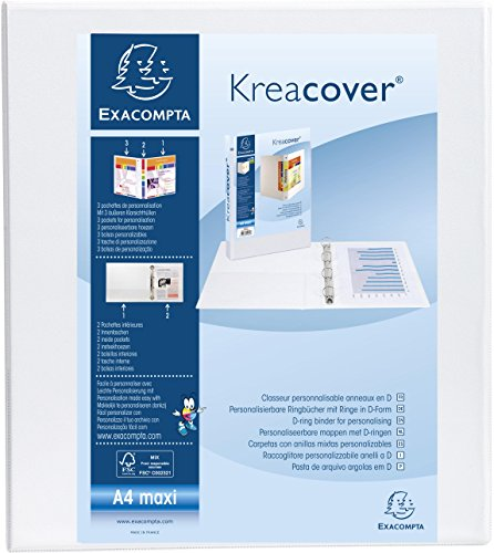 Exacompta Kreacover PP Ring Binder, A4 Maxi, 4 D-Rings, 64 mm spine and 40 mm D rings - White