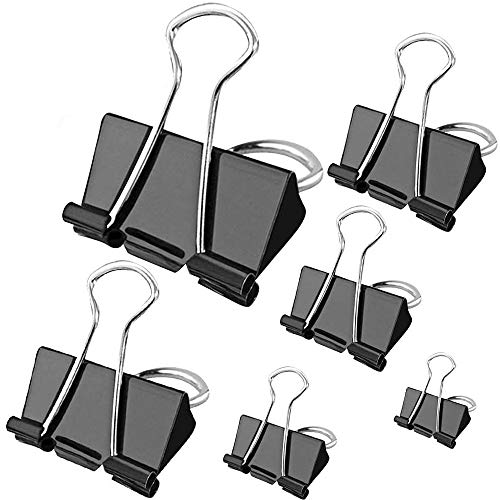 100 Stück Bulldog Clips - Binder Clips Büroklammer für Papier 6 Größen Foldback Büroklammern 15mm 19mm 25mm 32mm 41mm 51mm