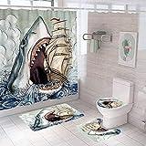 Vlejoy Baño De Cortina De Ducha De Tiburón con Estampado De Poliéster, Almohadilla En Forma De U, Baño Antideslizante Absorbente De Agua, Juego De Inodoro 4 Piezas