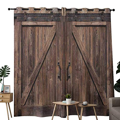 """Curtains for Living Room Rustic,Wooden Barn Door in Stone Farmhouse Image Vintage Desgin Rural Art Architecture Print, Beige,Complete Darkness, Noise Reducing Curtain 84""""x84"""""""