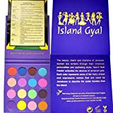 ISLAND GYAL PALETTE - Eyeshadow Palette Makeup - 16 Bright Colors Jamaica Inspired Cosmetic Eye Shadows - Highly Pigmented - Cruelty Free - Vegan Cosmetics - Parabens Free - With Patois Translation Sheet - Learn How To Talk Jamaican Patwah!