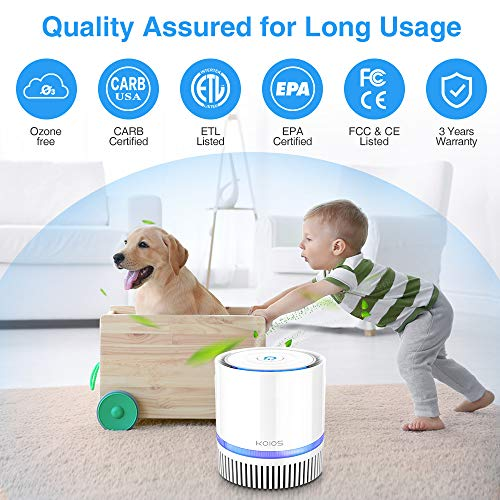 KOIOS Air Purifier, Indoor Air Cleaner with 3-in-1 True HEPA Filter for Home and Office, Odor Allergies Eliminator for Smoke, Dust, Pets, 3 Stage Filtration, Night Light