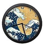 日本の嵐日本の伝統的な図面泡沫グレートウェーブアースイエローダークブルーホワイトウォールクロック、アートウォールクロック、ウォールクロック電池式、10インチ