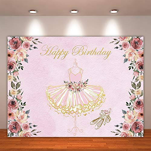Crefelicid 7x5ft Tutu Girl Birthday Backdrops Baby Shower Party Decorations Pink and Gold Glitter Ballerina Bday Background Photo Booth Banner for Cake Table Supplies