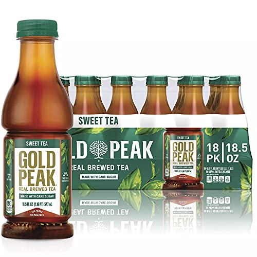 Gold Peak Naturally Sweet Real Brewed Tea, Picked for Peak Taste, Made With Cane Sugar - By Gourmet Kitchn - 1 Box (18.5oz / 18pk per Box)