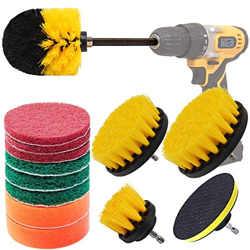 14 Pcs Drill Brush Attachment Set, Power Scrubber Cleaning Brushes Kits Polishing Scouring Pads Drill Brush Kit for Kitchen, Car, Bathroom, Sinks, Floor, Wheels, Ceramic, Carpet (with 6' Extender Rod)
