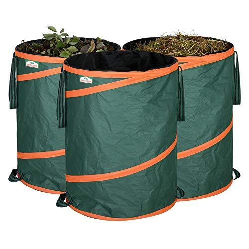 Gardebruk Gartenabfallsack Pop Up Laubsack 3x 165 Liter = 495 Liter Gartensack verschließbar max. 30 kg wasserabweisend