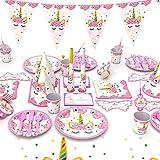 Himeland 90-teilig Einhorn Party-Set Pink Mädchen Einhorn Geburtstag Geschirr Kit für Geburtstagsfeier Kindergeburtstag Baby Shower Party Partygeschirr Teller Becher Strohhalme Tischdecke - 5