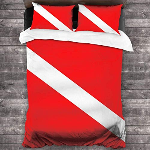 KDRW Red and White 3 Pieces Bed Sheet Set Comfortable Premium Bedspread Coverlet Set with Invisible Zipper Antistatic 3-Piece Comforter Sheet Set Breathable Soft Quilt Set 86'' X70