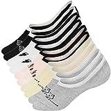 UMIPUBO 10 Pares Calcetines para Mujer Invisibles De Algodón Calcetines Cortos Elástco Con Silicona Antideslizante Anti-olor (H)