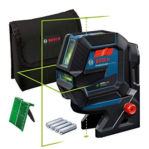 Bosch Professional Linienlaser GCL 2-50 G (grüner Laser, Halterung RM 10, sichtbarer Arbeitsbereich: bis 15 m, 4x AA-Batterie, in Kartonschachtel)