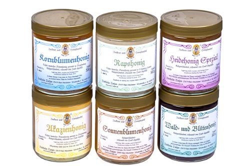 6x 500g Honig – Probierset | Geschenkset – naturbelassen, Honig zum Kennenlernen (von Imkerei Nordheide)