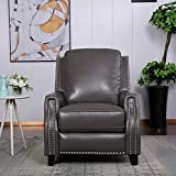 EBELLO Leather Air Push Back Recliner (Grey)