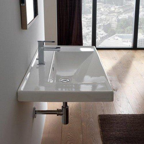 Scarabeo 3005-One Hole ML Rectangular Ceramic Self Rimming/Wall Mounted Bathroom Sink, White