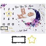 Baby Meilenstein Decke Fotodecke Neugeborenen Monatliche Foto Decke Monatsdecke Fotografie Hintergrund Prop Baby Alter Decken aus Flanell Babydecke mit Monat Geschenk