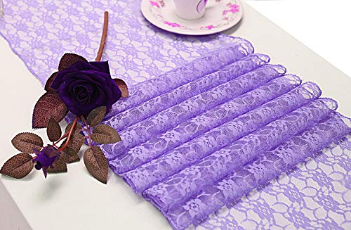 mds Pack of 10 Wedding 12 x 108 inch Lace Table Runner for Wedding Banquet Decor Table Lace Runner- Lavender