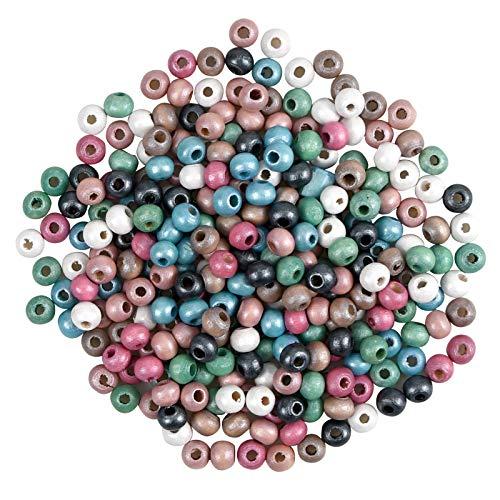 Cuenta de Madera 300 Piezas 6mm Abalorios de Madera Natural Pintados Redondos de Colores Surtidos con Agujero para Fabricación de Artesanías de Bricolaje de Joyería