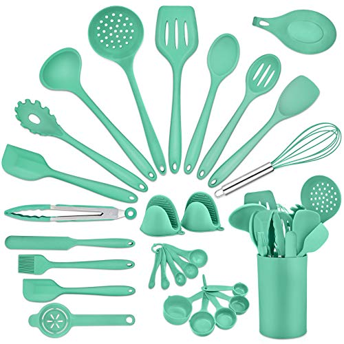 28-Piece Kitchen Utensils with Holder, P&P CHEF Silicone Cooking Utensil Spatula Set, Nonstick Utensil with Measuring Cups/Oven Mitts/Egg Separator for Serving Cooking Baking, Green