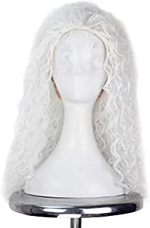 Miss U Hair Women Classic Long Afro Curly Witch Cosplay Costume Wig Punk Lolita Wig (Pure White)
