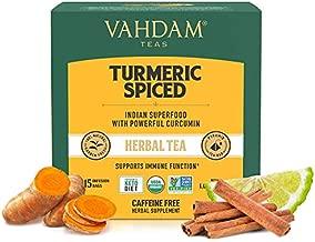 VAHDAM, Organic Turmeric Spiced Herbal Tea (30 Tea Bags)   USDA Certified Organic Blend of Turmeric Powder & Fresh Spices   Turmeric Tea for Weight Loss   100% Natural Detox   Immunity Support