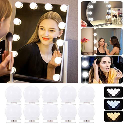 LED Spiegelleuchte, Hollywood Stil Schminklicht mit 10 Dimmbar Glühbirne und 3 Farbmodi für Schminkspiegel, Schminktisch und Beauty Schminktisch, Kosmetikspiegel Licht Weiß