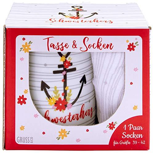 Gruss und Co 46481 Tasse-Socken-Set Schwesterherz