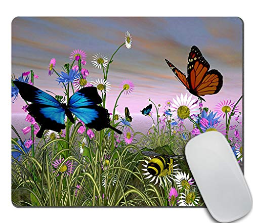 Amcove Cute Rectangle Mouse Pad Custom, Butterflies in Daisy Fields Mousepad Non-Slip Rubber Gaming Mouse Pad Rectangle Mouse Pads for Computers Laptop