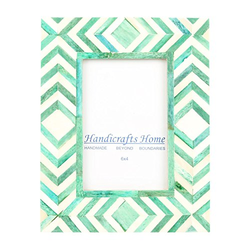 Handicrafts Home - Marco de fotos (10 x 15 cm), diseño de mosaico marroquí, color verde y blanco hueso, Chevron, 4 x 6