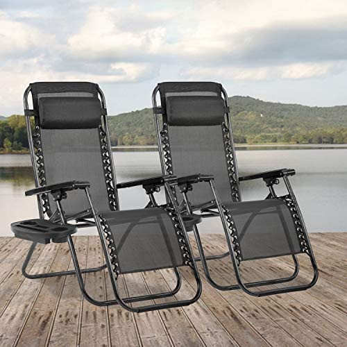 Zero Gravity Chair Seat Adjustable Patio Lounge Recliner Chair Set of 2 with Cup Holders Pillow for Patio Outdoor Yard Beach (Black)