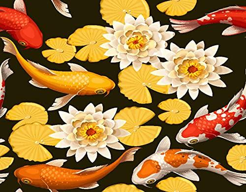Pintar por Número Equipo Regalo,Carpas koi rojas y peces loto Japón Asiático Flor negra Flor china,DIY Pintura Acrílica para Niños Estudiantes Principiante Adultos Decor del Hogar,20' x 16'