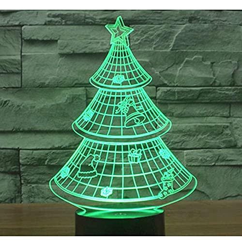 Eld Árbol de Navidad con luz de Noche LED 3D con luz de 7 Colores para la lámpara de decoración del hogar Visualización increíble Ilusión óptica Regalo del día de los niños Impresionante