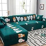Funda Sofa 4 Plazas Chaise Longue Dibujos Animados Verde Fundas para Sofa Universal,Cubre Sofa Ajustables,Fundas Sofa Elasticas,Funda de Sofa Chaise Longue,Protector Cubierta para Sofá