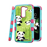 LG K7 Case, CASECREATOR[TM] For LG K7 / LG Tribute 5 (Sprint, MetroPCS, Boost Mobile)--NATURAL TUFF Hybrid Rubber Hard Snap-on Case Pink Teal Blue-Panda with Bamboo