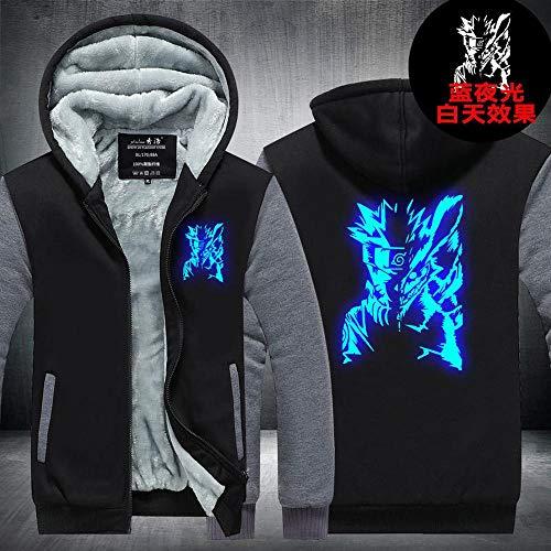 Pull à Capuche Naruto Zip Hommes Glowing Imprimé à Capuche Chaud Manteau Sport à Manches Longues Brochage Veste H-M