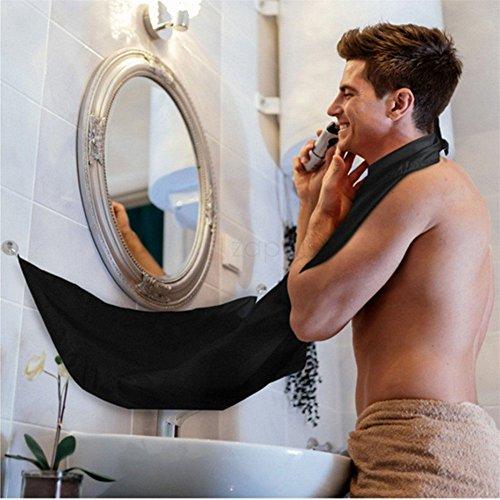 JWPC Barba Grembiule - Beard Apron Cattura Barba e Capelli, Grembiule con Ventose per Specchio Lasciate Che Il Vostro Bagno Pulire,Nero